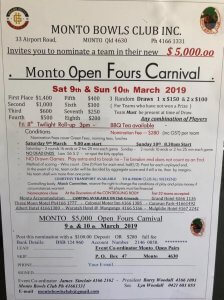 Monto Bowls Club Open Fours Carnival @ Monto Bowls Club | Monto | Queensland | Australia